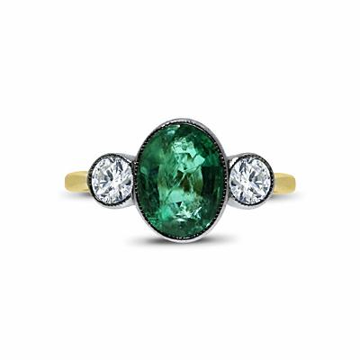 Oval Emerald And Diamond Three Stone Ring - 1.40ct